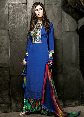 Ink Blue Pure Crepe Palazzo Suit