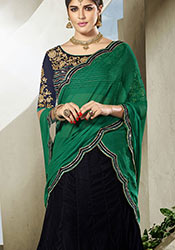 Intriguing Black Velvet A Line Lehenga Choli