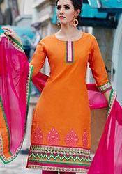 Intriguing Orange Cotton Churidar Suit