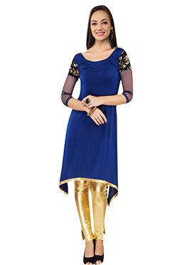 Ira Soleil Polyester Knitted Blue kurti