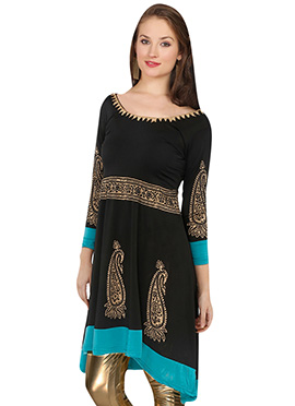 Ira Soleil Polyester Knitted Black Kurti