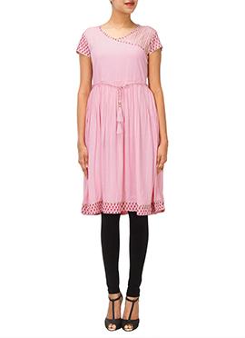 Iraz Light Pink Angrakha Style Kurti