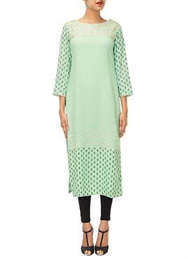 Iraz Light Turquoise Silk Cotton Kurti