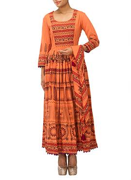 Iraz Orange Printed Anarkali