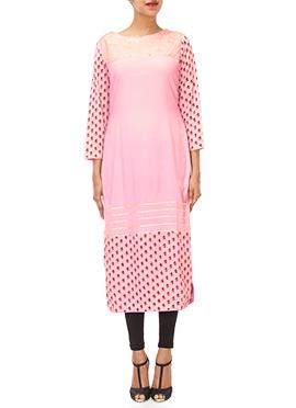 Iraz Pink Silk Cotton Kurti