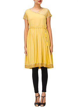 Iraz Yellow Angrakha Style Kurti
