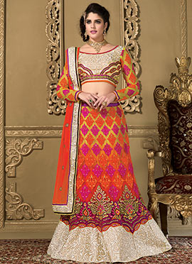 Izabelle Leite Orange Net Lehenga Choli