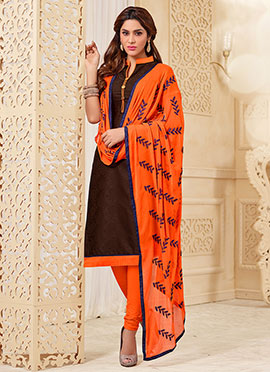 Jacquard Brown Churidar Suit