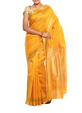 Jacquard Yellow Tussar Silk Saree