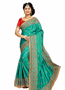 Jade Green Art Silk Embroidered Saree