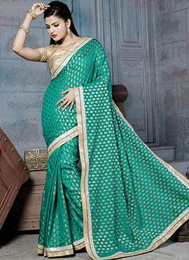 Jade Green Art Silk Jacquard Designed Saree