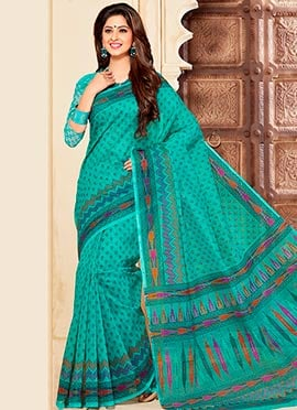 Jade Green Cotton Printed Saree