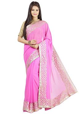 Jashn Pink Pure Georgette Saree