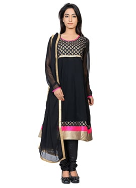 Juniper Black Jacquard Anarkali Suit