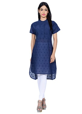 Juniper Navy Blue Cotton Kurti