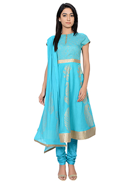 Juniper Sky Blue Georgette Anarkali Suit