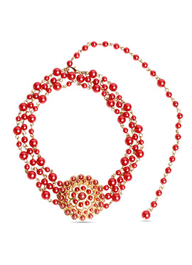 Juvalia And You Red Bead Ball Layered Necklace