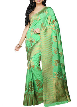 kancheepuram Art Silk Green Saree