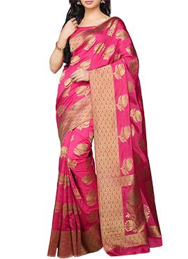 kanjivaram Art Silk HoneySuckle Pink Saree