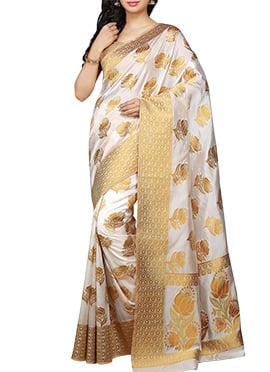 kanjivaram Art Silk Off White Saree