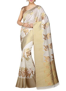 kanjivaram Art Silk Off White Saree