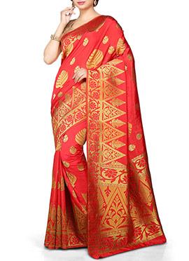 kancheepuram Art Silk Orangish Red Saree