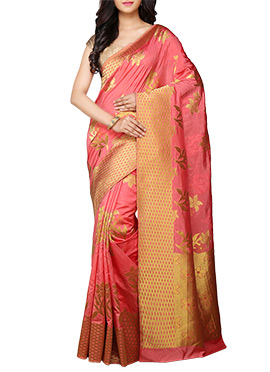 kancheepuram Art Silk Peach Saree