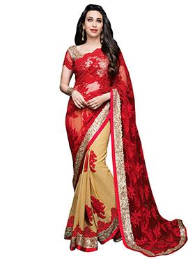 Karisma Kapoor Beige N Red Half N Half Saree