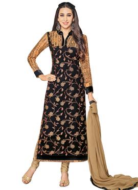 Karisma Kapoor Black Embroidered Straight Suit