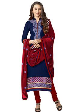 Karisma Kapoor Blue Straight Suit
