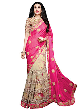 Karisma Kapoor Cream N Pink Half N Half Saree