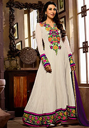Karisma Kapoor Grey Floor Length Anarkali Suit