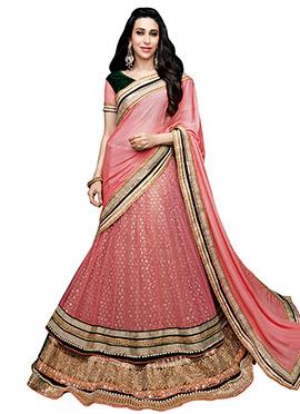 Karisma Kapoor Onion Pink Lehenga Saree