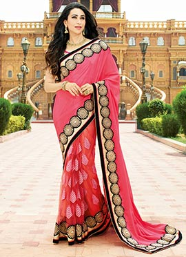 Karisma Kapoor Orange N Pink Half N Half Saree