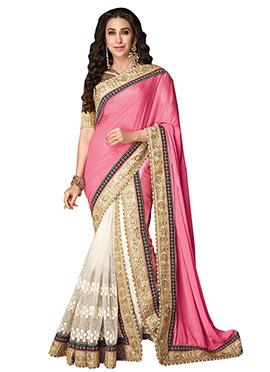 Karisma Kapoor White N Pink Half N Half Saree