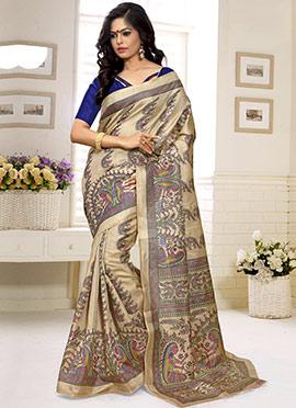 Khadi Silk Decorative Pattern Printed Saree