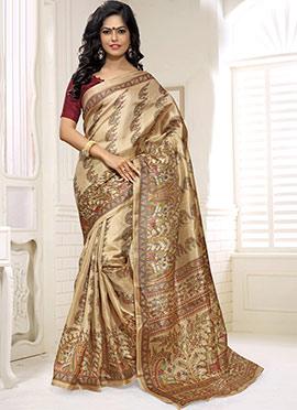 Khadi Silk Printed Beige Saree