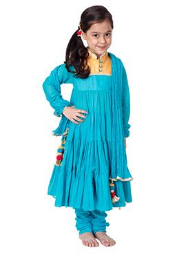 Kidology Blue Malmal Anarkali