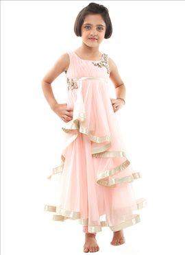 Kidology Gaurav Gupta Pink Net Anarkali Suit