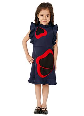 Kidology Navy Blue Pansy Ruffle Dress