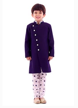 Kidology Navy Blue Silk Cotton Boys Sherwani