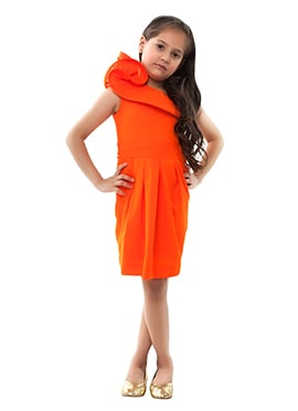 Kidology Orange Kids One Shoulder Lily Dress