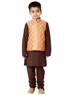 Kidology Peach N Brown Jaal Vest N Kurta Pajama