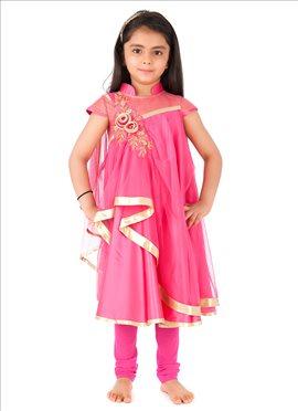 Kidology Pink Net Anarkali Suit