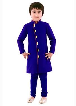 Kidology Royal Blue Silk Cotton Boys  Sherwani