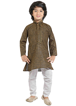 Kids Brown Cotton Kurta Pyjama
