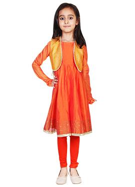 Kids Chiquitita Orange Anarkali Set