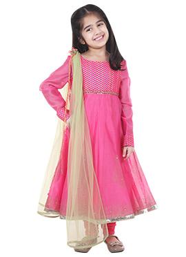 Kids Chiquitita Pink Anarkali Set