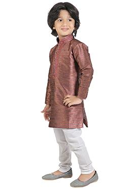 Kids Copper Brown Cotton Kurta Pyjama