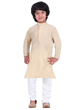 Kids Cotton Cream Kurta Pyjama